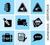 set of 9 web icons such as... | Shutterstock .eps vector #680929618