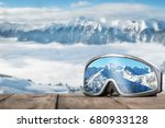 ski goggles with reflection of... | Shutterstock . vector #680933128