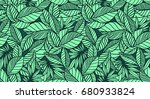 seamless leaves background | Shutterstock . vector #680933824