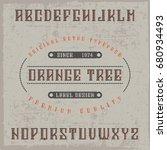 handcrafted 'orange tree' font... | Shutterstock .eps vector #680934493