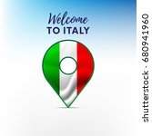 flag of italy in shape of map... | Shutterstock .eps vector #680941960