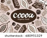 hand drawn doodle cocoa and... | Shutterstock .eps vector #680951329