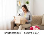 delivery  mail and people... | Shutterstock . vector #680956114