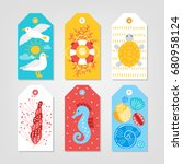 set of ocean gift tags with... | Shutterstock .eps vector #680958124