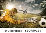 goalkeeper in gates jumping to... | Shutterstock . vector #680959189