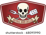 barbecue emblem featuring a... | Shutterstock .eps vector #68095990