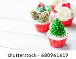 christmas dessert cupcakes | Shutterstock . vector #680961619