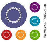 crown of thorns icons set in... | Shutterstock .eps vector #680964838