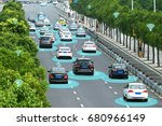 smart car  hud  and autonomous... | Shutterstock . vector #680966149