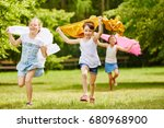 children running in freedom in... | Shutterstock . vector #680968900