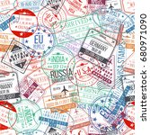 passport stamp seamless pattern.... | Shutterstock .eps vector #680971090