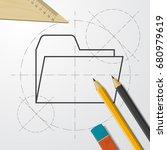 vector blueprint folder icon on ...