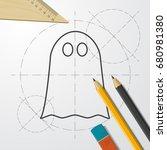 vector flat halloween icon.... | Shutterstock .eps vector #680981380
