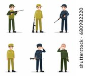 military men set with weapon in ... | Shutterstock .eps vector #680982220