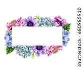 rectangular flower frame | Shutterstock . vector #680985910