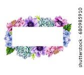rectangular flower frame   Shutterstock . vector #680985910