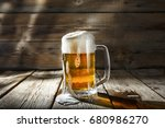 mug of light beer pills with... | Shutterstock . vector #680986270