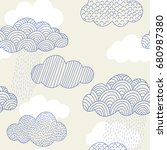 hand drawn cloud vector pattern.... | Shutterstock .eps vector #680987380