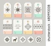 set of decorative christmas... | Shutterstock .eps vector #680993338