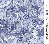 tracery seamless pattern.... | Shutterstock .eps vector #681001114