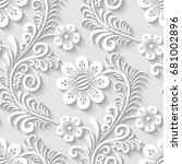 elegant 3d seamless floral... | Shutterstock . vector #681002896