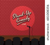 red brick stand up comedy... | Shutterstock . vector #681008356