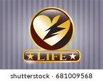 golden badge with broken heart ...   Shutterstock .eps vector #681009568