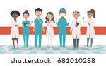 doctors team vector... | Shutterstock .eps vector #681010288