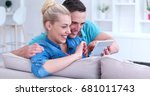young couple relaxing at... | Shutterstock . vector #681011743