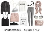 Stock photo set of stylish clothes woman trendy fashion clothes collage on white flat lay top view 681014719
