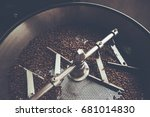 coffee beans in roast machine ... | Shutterstock . vector #681014830