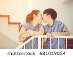 happy asian mother and son take ... | Shutterstock . vector #681019024