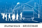 people get off the bus.... | Shutterstock .eps vector #681023668
