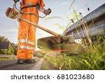 professional roadside mowing | Shutterstock . vector #681023680