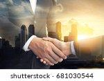 double exposure of handshake on ... | Shutterstock . vector #681030544