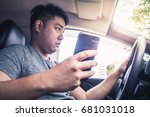 a young asian man illegally... | Shutterstock . vector #681031018