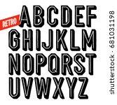 handmade retro font. black dot... | Shutterstock .eps vector #681031198