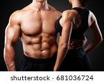 bodybuilder couple. | Shutterstock . vector #681036724