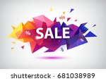 raster copy sale faceted 3d... | Shutterstock . vector #681038989