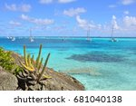 sailing in cristal blue... | Shutterstock . vector #681040138