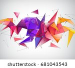 raster copy. abstract crystal... | Shutterstock . vector #681043543