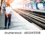 security guard working.... | Shutterstock . vector #681045508