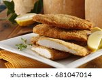 breaded chicken with parmesan...   Shutterstock . vector #681047014