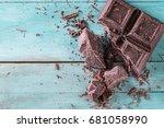 dark chocolate stack  on wooden ... | Shutterstock . vector #681058990