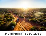 australia  red sand unpaved... | Shutterstock . vector #681062968