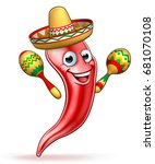 a red chilli pepper cartoon... | Shutterstock . vector #681070108