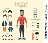 hipster character with hipster... | Shutterstock .eps vector #681073063