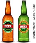beer bottle with label and many ... | Shutterstock .eps vector #681073630