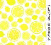 lemons background. fruit... | Shutterstock .eps vector #681073948