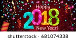 happy new year 2018 greeting... | Shutterstock .eps vector #681074338